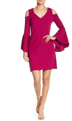 Donna Ricco V-Neck Cold Shoulder Crepe Scuba Dress