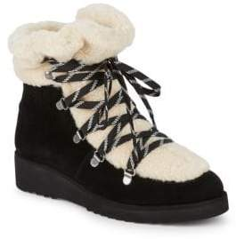 Australia Luxe Collective Jaden Shearling & Suede Lace-Up Booties