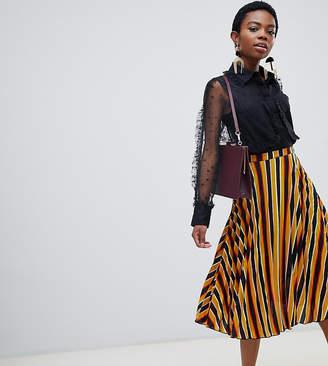 Glamorous Petite midi skirt in pleated bold stripe