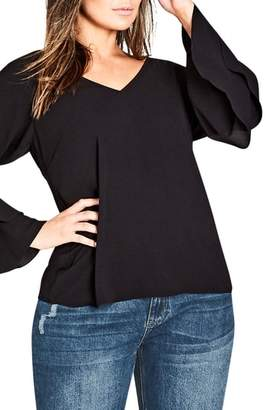 City Chic Double Frill Sleeve Top