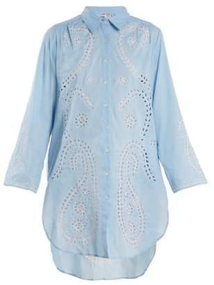Juliet Dunn Embroidered paisley cut-out cotton shirtdress