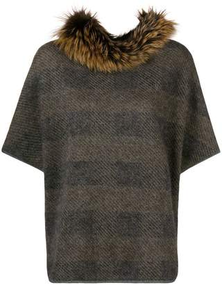 Fabiana Filippi fur-trim short-sleeve sweater
