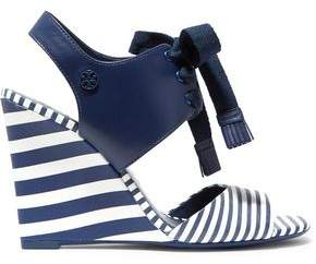 Tory Burch Striped Leather Wedge Sandals
