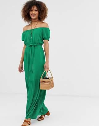 Gilli bardot maxi dress with tie waist
