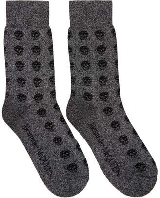 Alexander McQueen Grey and Black Glittered Short Skull Socks