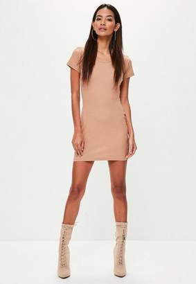 Missguided Tan Short Sleeve Ribbed Mini Dress