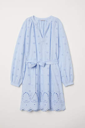 H&M Dress with Eyelet Embroidery - Blue