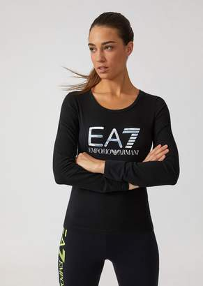 Emporio Armani Long-Sleeve Stretch Cotton T-Shirt With Ea7 Logo