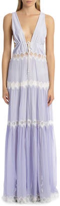 Jonathan Simkhai Smocked Silk Lace V-Neck Maxi Dress