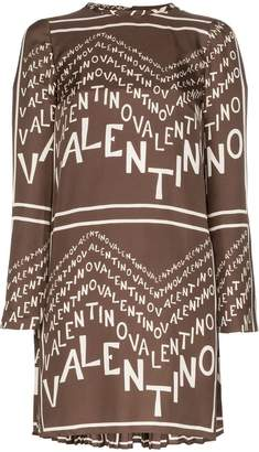 Valentino logo lettered silk chevron twill dress