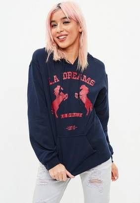 Missguided Navy La Dreams Hoodie