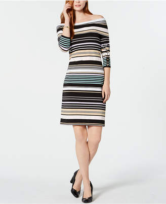 Tommy Hilfiger Striped Off-The-Shoulder Bodycon Dress