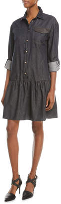 Brunello Cucinelli Drop-Waist Button-Front Denim Dress w/ Monili Pocket