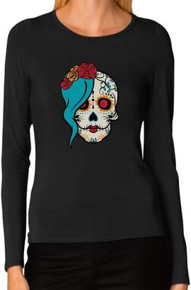 DAY Birger et Mikkelsen Tstars - Mrs. Sugar Skull of The Dead Gothic Women Long Sleeve T-Shirt