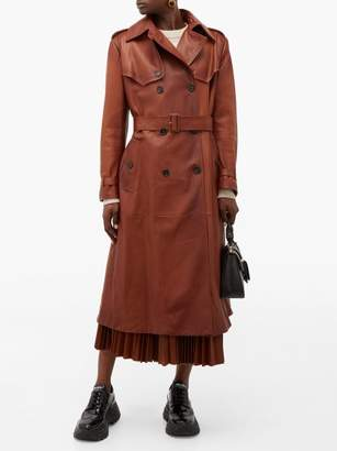 Prada Belted Grained Leather Trench Coat - Womens - Brown