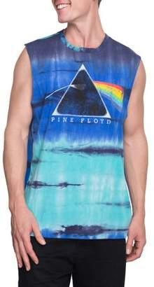 Pop Culture Big Men's pink Floyd dark prism tie dye graphic muscle tee