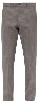 Bottega Veneta Houndstooth Wool Blend Trousers - Mens - Dark Grey
