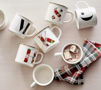Pottery Barn Plaid Alphabet Mug