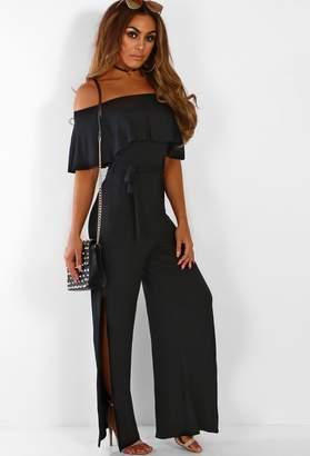 00787d09678a Pink Boutique Oh So Chic Black Bardot Split Leg Jersey Jumpsuit