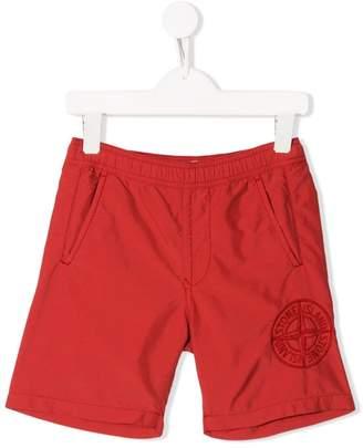 Stone Island Junior embroidered logo swim shorts