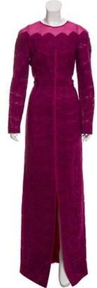 J. Mendel Long Sleeve Evening Dress w/ Tags Purple Long Sleeve Evening Dress w/ Tags