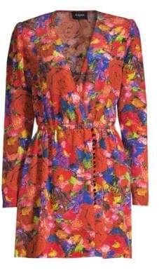 The Kooples Floral Silk Long-Sleeve Wrap Dress