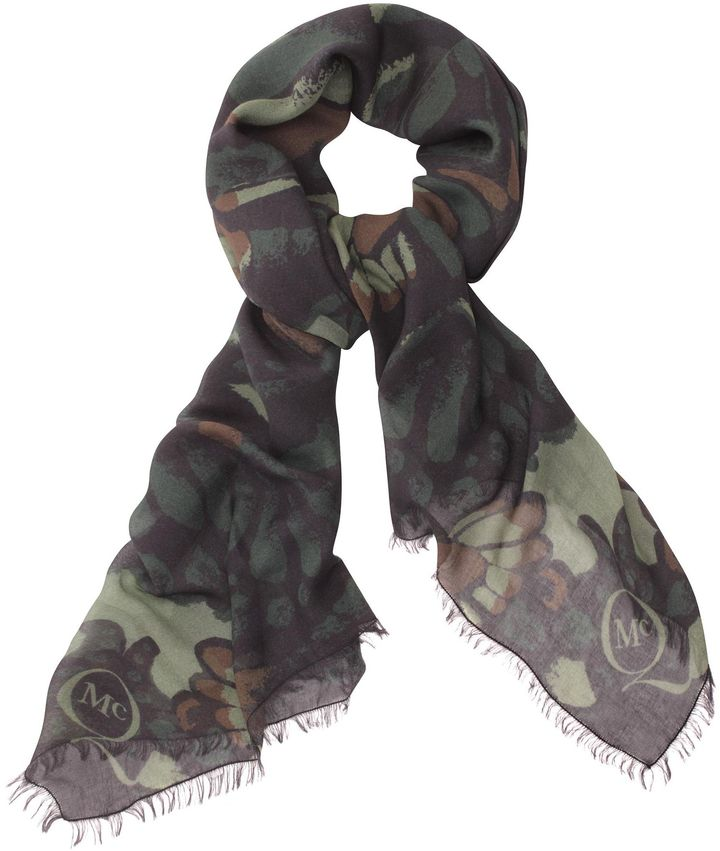 McQ Butterfly Camouflage Logo Scarf