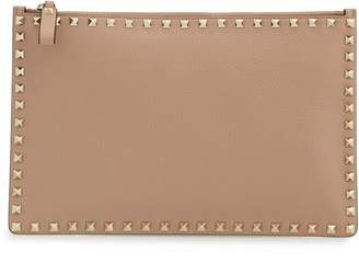 Valentino Large Rockstud Flat Leather Pouch