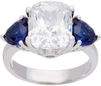 Diamonique Cushion and Trillion Cut Sapphire Ring