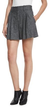 Alice + Olivia Eloise High-Waist Double-Pleated Shorts, Charcoal $250 thestylecure.com