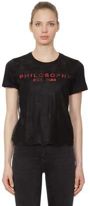 Philosophy di Lorenzo Serafini Logo Print Cotton Jersey & Lace T-Shirt