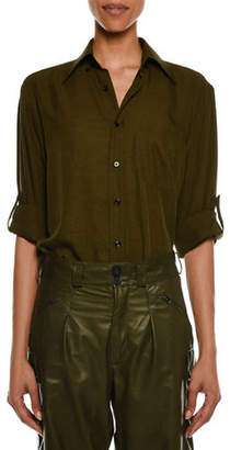 Tom Ford Light-Washed Twill Button-Front Blouse