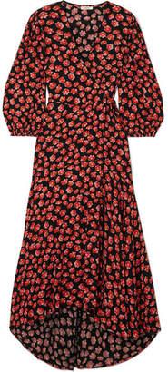 Ganni Lindale Floral-print Crepe De Chine Wrap Dress