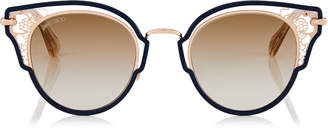 Jimmy Choo DHELIA Blue and Copper Gold Metal Sunglasses
