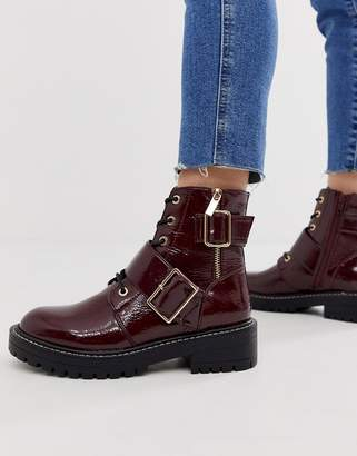 New Look stitch detail chunky flat boots in dark red