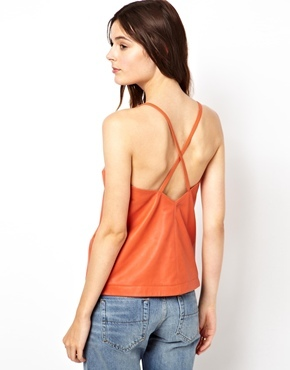 Asos Cami with Plunge Back in Leather - Orange