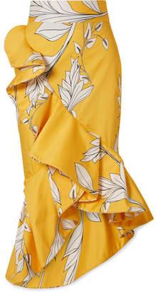 Johanna Ortiz - Lychee Ruffled Floral-print Cotton-blend Midi Skirt - Yellow
