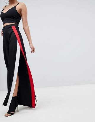 PrettyLittleThing Stripe Side Split Wide Leg Pants