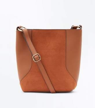 New Look Tan Suedette Panel Bucket Bag
