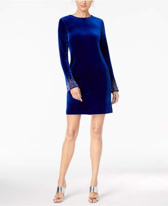 Calvin Klein Velvet Bling-Sleeve Dress