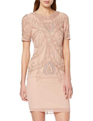 Frock and Frill Women's Fiona Short Sleeve Embellished Mini Dress Party (Barely Pink) (Size:UK 10)
