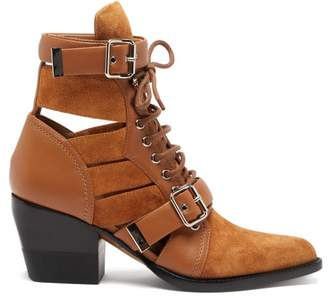 Chloé Rylee Cut Out Suede Ankle Boots - Womens - Tan