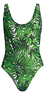 Milly Women's Tropical Print Deep Side Scoop One-Piece Swimsuit
