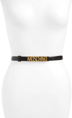 Moschino Logo Calfskin Leather Skinny Belt