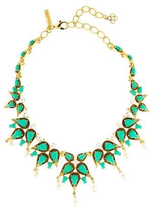 Oscar de la Renta Cabochon Pear Stone & Imitation Pearl Necklace