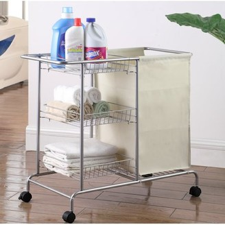 "Artiva USA Home Rolling Laundry Cart, Silver/Grey, 32"" x 15.75"" x 28.5"""