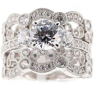 FINE JEWELRY DiamonArt Cubic Zirconia Sterling Silver Vintage-Style Bridal Ring and Guard Set $406.23 thestylecure.com