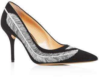 Charlotte Olympia Women's Emilia Feather-Embroidered High-Heel Pumps