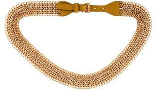 Prada Leather-Trimmed Chain-Link Belt
