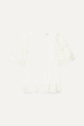Sea Zinnia Broderie Anglaise-trimmed Cotton-voile And Gauze Blouse - White
